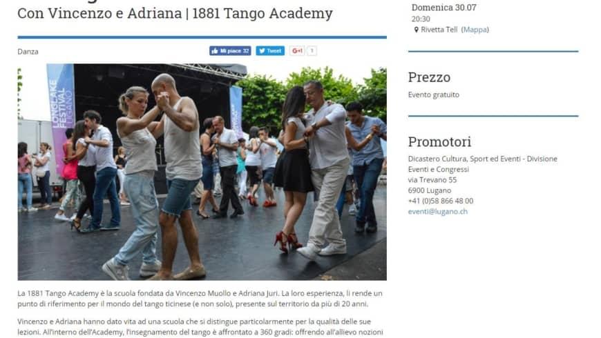 Milonga – Rivetta TELL LUGANO, con 1881 Tango